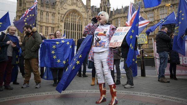 Những người tham gia cuộc biểu tình phản đối Brexit trước Quốc hội Anh, London - Sputnik Việt Nam