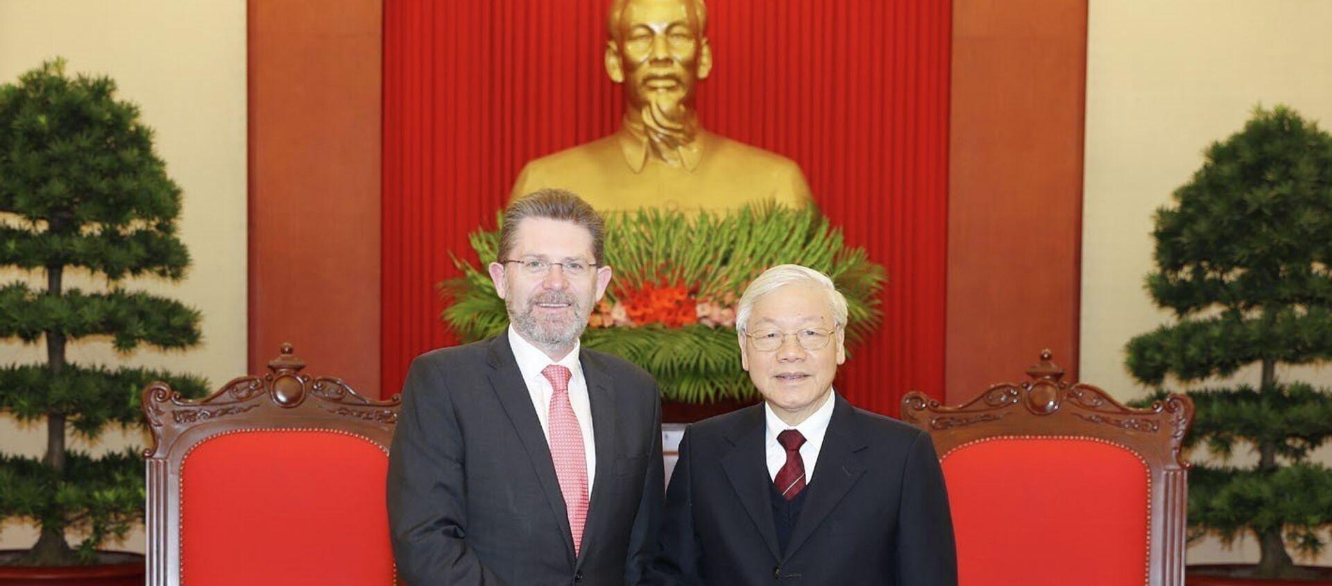 Tổng Bí thư, Chủ tịch nước Nguyễn Phú Trọng tiếp Chủ tịch Thượng viện Australia Scott Ryan. - Sputnik Việt Nam, 1920, 22.01.2019