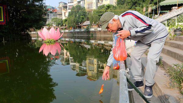 Người dân thủ đô thủ đô thả cá chép tại khu vực hồ Giám. - Sputnik Việt Nam