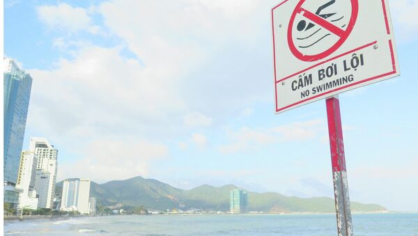 Khu vực bãi biển nơi hai du khách tử nạn có biển cấm bơi lội, nhưng du khách và người dân vẫn bơi lội, gây nguy hiểm tính mạng. - Sputnik Việt Nam