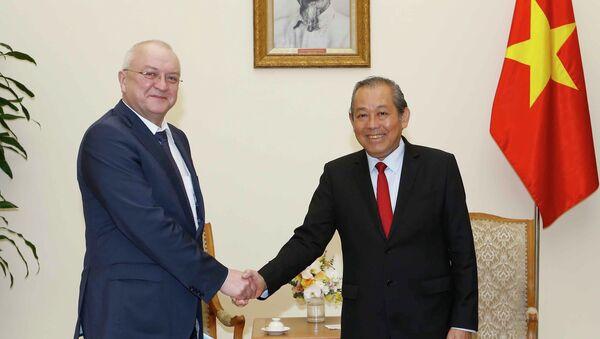 Phó Thủ tướng Trương Hòa Bình đón ông Alexander Anikin. - Sputnik Việt Nam