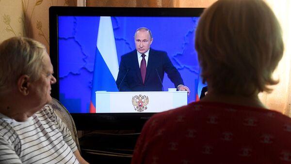 Tổng thống Nga Vladimir Putin phát biểu trong Thông điệp gửi Quốc hội Liên bang - Sputnik Việt Nam