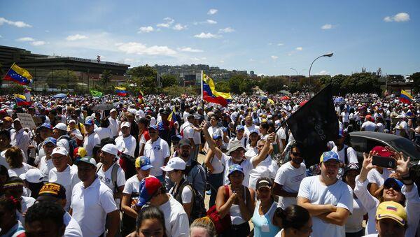 Cuộc biểu tình ở Caracas của những người ủng hộ tổng thống lâm thời tự xưng Venezuela – thủ lĩnh phe đối lập Juan Guaido - Sputnik Việt Nam