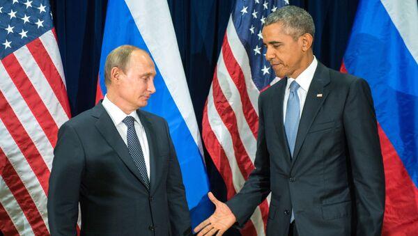 Tổng thống Nga Vladimir Putin và Tổng thống Mỹ Barack Obama tại cuộc gặp trong khuôn khổ phiên họp thứ 70 Đại hội đồng Liên Hợp Quốc ở New York - Sputnik Việt Nam