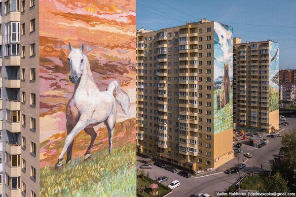 Những ngôi nhà với hình graffiti động vật ở thành phố Novosibirsk - Sputnik Việt Nam