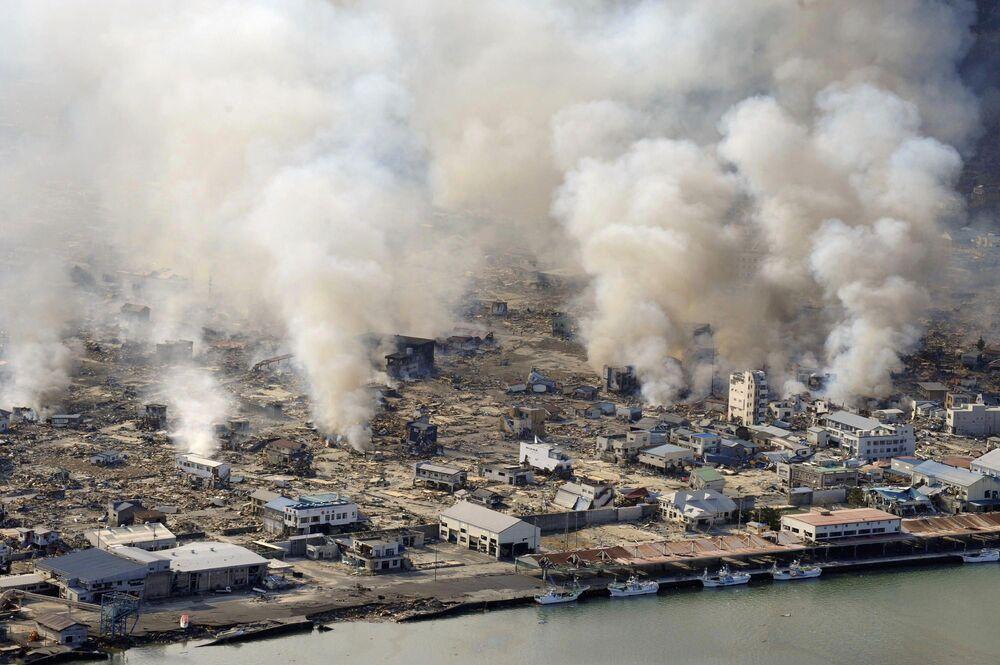 Quang cảnh thành phố Yamada sau trận động đất và sóng thần xảy ra tại Nhật Bản ngày 11 tháng 3 năm 2011