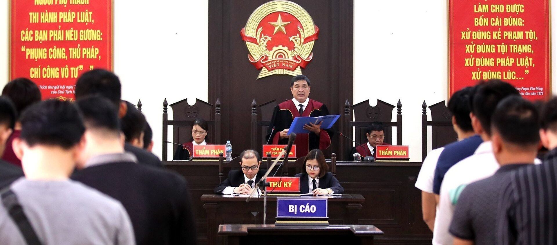 Thẩm phán, Chủ tọa phiên tòa Nguyễn Vinh Quang tuyên bản án phúc thẩm. - Sputnik Việt Nam, 1920, 12.03.2019