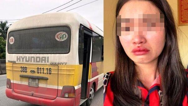 Chị Hoài bị hành hung sau khi chụp ảnh chiếc xe nhái xe bus BKS 38B - 01116 lạng lách, đánh võng - Sputnik Việt Nam