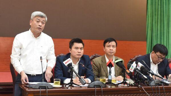 Chi cục trưởng Chi cục Bảo vệ Môi trường Hà Nội Mai Trọng Thái thông tin tại cuộc họp. - Sputnik Việt Nam