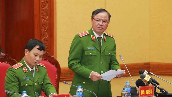 Trung tướng Trần Văn Vệ, Chánh Văn phòng Cơ quan Cảnh sát điều tra, Bộ Công an phát biểu.  - Sputnik Việt Nam