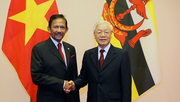 Tổng Bí thư, Chủ tịch nước Nguyễn Phú Trọng đón Quốc vương Brunei Hassanal Bolkiah. - Sputnik Việt Nam