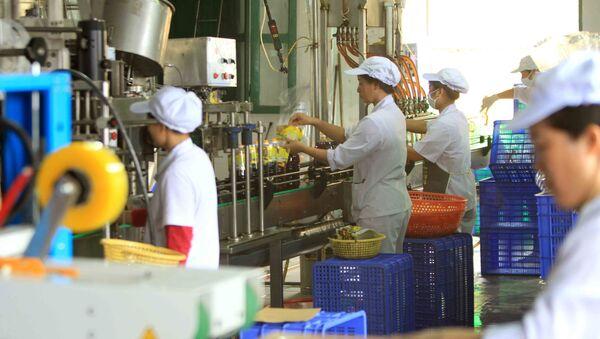 Dây chuyền đóng chai nước mắm Cát Hải ngay tại xưởng.  - Sputnik Việt Nam