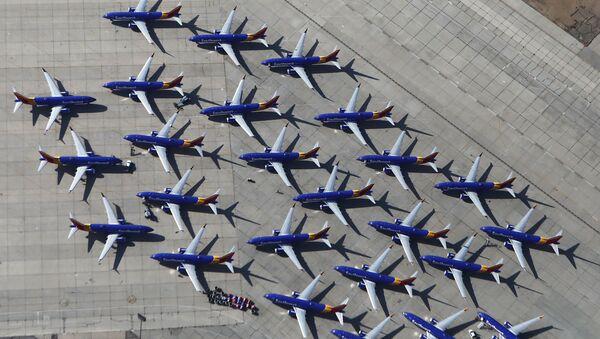 Máy bay Boeing 737 MAX của hãng hàng không Southwest Airlines tại sân bay Victorville, bang California - Sputnik Việt Nam