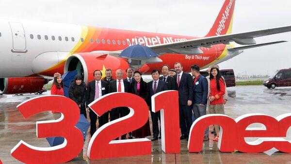 Chủ tịch Quốc hội Nguyễn Thị Kim Ngân chứng kiến Hãng Hàng không Vietjet đón nhận tàu bay A321neo.  - Sputnik Việt Nam