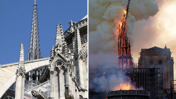 Ảnh nhà thờ Đức Bà ở Paris trước và trong vụ cháy - Sputnik Việt Nam