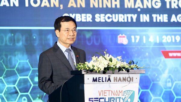 Bộ trưởng Bộ Thông tin và Truyền thông Nguyễn Mạnh Hùng phát biểu - Sputnik Việt Nam