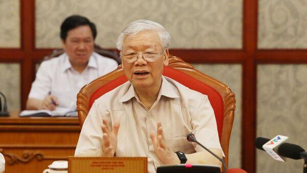 Tổng Bí thư, Chủ tịch nước Nguyễn Phú Trọng phát biểu tại cuộc họp Bộ Chính trị. - Sputnik Việt Nam