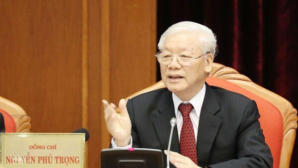 Tổng Bí thư, Chủ tịch nước Nguyễn Phú Trọng chủ trì và phát biểu khai mạc Hội nghị.  - Sputnik Việt Nam