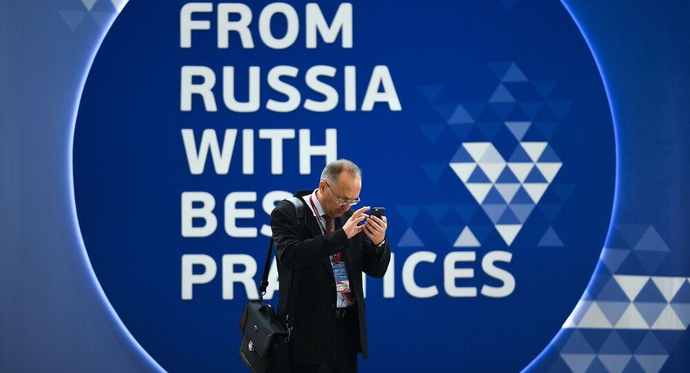 """Những người tham gia Diễn đàn Kinh tế Quốc tế St. Petersburg 2019 (SPIEF-2019) tại Trung tâm Hội nghị và Triển lãm """"Expoforum"""""""