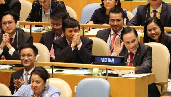 Niềm vui của các thành viên của đoàn Việt Nam khi trúng cử ủy viên không thường trực HĐBA LHQ với số phiếu gần như tuyệt đối. - Sputnik Việt Nam