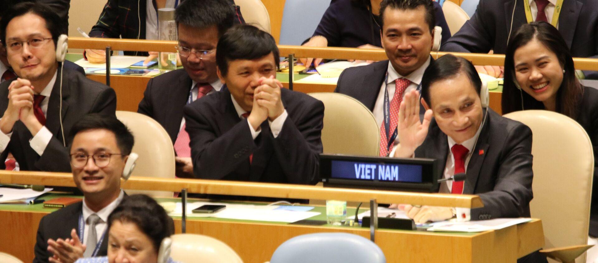 Niềm vui của các thành viên của đoàn Việt Nam khi trúng cử ủy viên không thường trực HĐBA LHQ với số phiếu gần như tuyệt đối. - Sputnik Việt Nam, 1920, 11.06.2019