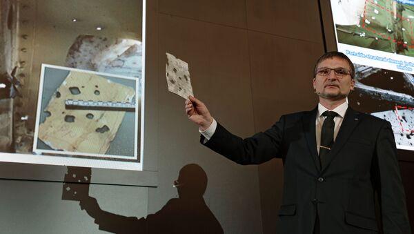 Ông M. Malyshevsky, cố vấn thiết kế trưởng tập đoàn Almaz-Antei tại buổi  công bố kết quả thử nghiệm mô hình hóa vụ tai nạn máy bay Boeing 777 - Sputnik Việt Nam