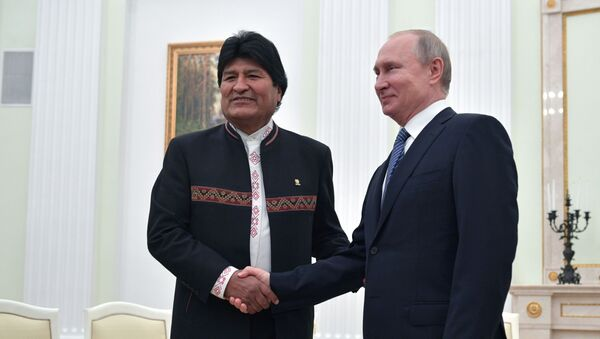 Tổng thống Nga Vladimir Putin trong cuộc gặp với Tổng thống Bolivian Evo Morales - Sputnik Việt Nam