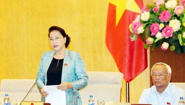 Chủ tịch Quốc hội Nguyễn Thị Kim Ngân chủ trì và phát biểu khai mạc Phiên họp thứ 35 của Ủy ban Thường vụ Quốc hội.  - Sputnik Việt Nam