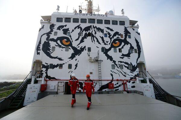 """Tàu ướp lạnh vận chuyển """"Symphonya""""  tại cảng làng Yuznyi-Morsky vùng Primorye. - Sputnik Việt Nam"""