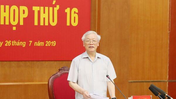 Tổng Bí thư, Chủ tịch nước Nguyễn Phú Trọng phát biểu kết luận phiên họp. - Sputnik Việt Nam