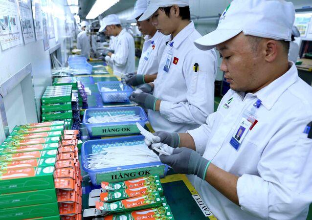 Kiểm tra, đóng gói sản phẩm ống hút, dao, thìa, nĩa bằng bột ngô thân thiện với môi trường tại nhà máy của công ty.