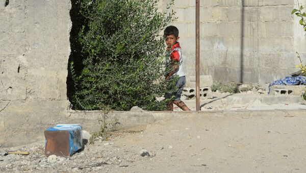 Một người dân địa phương trên đường phố giữa những tòa nhà bị phá hủy tại khu vực Dahane ở Damascus - Sputnik Việt Nam