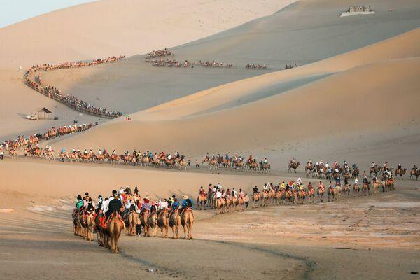 Du khách cưỡi lạc đà trong sa mạc ở Đôn Hoàng, Trung Quốc - Sputnik Việt Nam