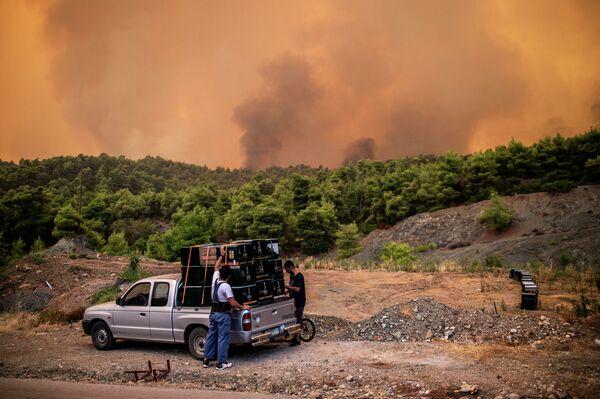 Nông dân trong vụ cháy rừng trên đảo Evia, Hy Lạp - Sputnik Việt Nam