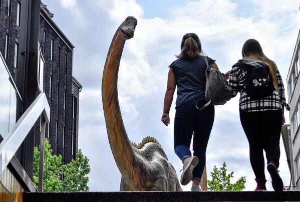 Những người qua đường gần một bản sao con khủng long kích thước thật ở trung tâm thành phố Bochum, Đức - Sputnik Việt Nam