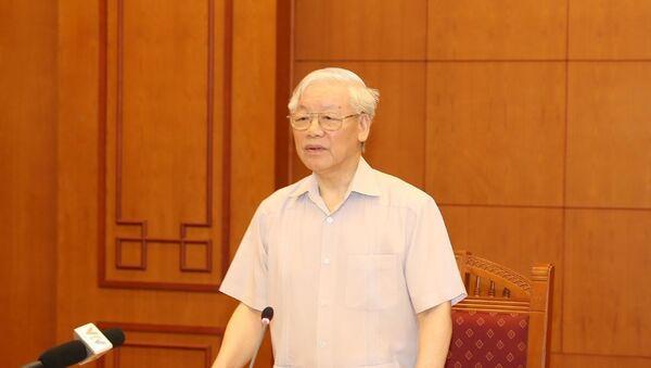 Tổng Bí thư, Chủ tịch nước Nguyễn Phú Trọng, Trưởng Tiểu ban Nhân sự Đại hội XIII của Đảng phát biểu.  - Sputnik Việt Nam