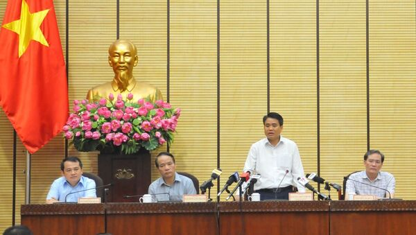Chủ tịch UBND thành phố Hà Nội Nguyễn Đức Chung phát biểu. - Sputnik Việt Nam
