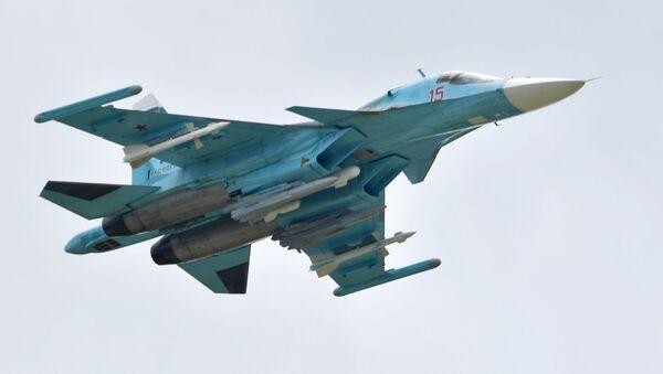 Máy bay ném bom đa năng Su-34 của Nga thực hiện chuyến bay trình diễn tại MAKS-2019 - Sputnik Việt Nam