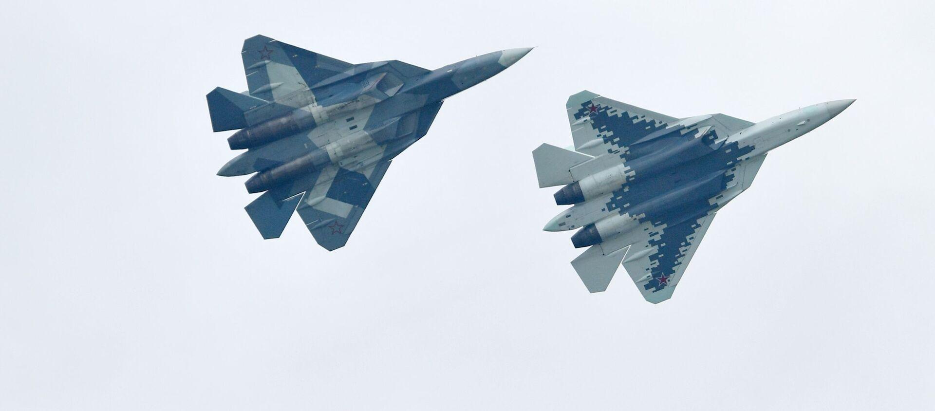 Máy bay chiến đấu đa chức năng Nga thế hệ thứ năm Su-57 thực hiện chuyến bay trình diễn tại Triển lãm Hàng không - Vũ trụ quốc tế MAKS-2019 - Sputnik Việt Nam, 1920, 31.05.2021