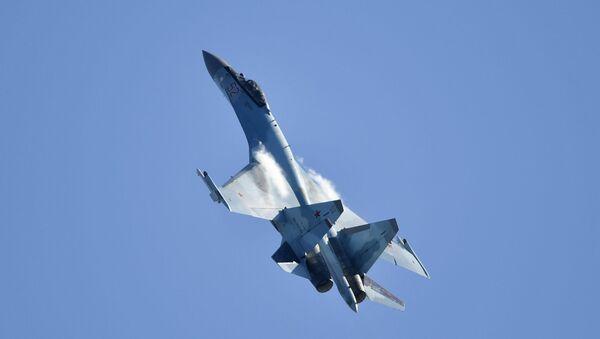 Máy bay chiến đấu đa năng Su-35 của Nga tại Triển lãm Hàng không và Vũ trụ Quốc tế MAKS-2019 - Sputnik Việt Nam
