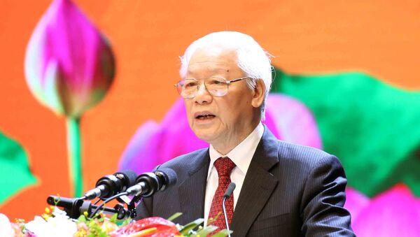 Tổng Bí thư, Chủ tịch nước Nguyễn Phú Trọng đọc diễn văn tại buổi lễ. - Sputnik Việt Nam