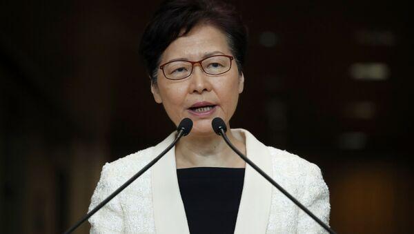 Trưởng phòng Hồng Kông Carrie Lam tại một cuộc họp báo - Sputnik Việt Nam
