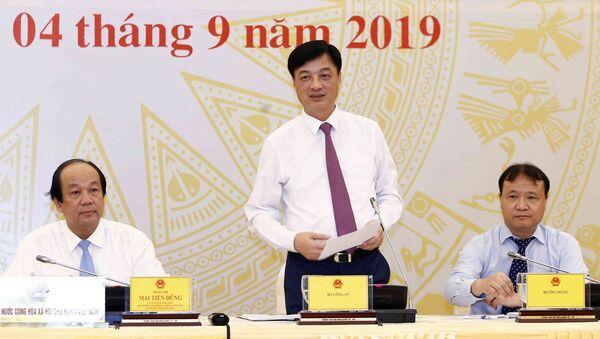 Thứ trưởng Bộ Công an Nguyễn Duy Ngọc trả lời câu hỏi của phóng viên các cơ quan thông tấn báo chí.  - Sputnik Việt Nam