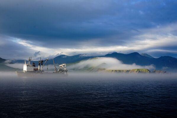 Các tàu hậu cần của hạm đội Thái Bình Dương trên vịnh biển Novokurilskiy của đảo Urup - hòn đảo thuộc nhóm đảo phía nam quần đảo Kuril - Sputnik Việt Nam