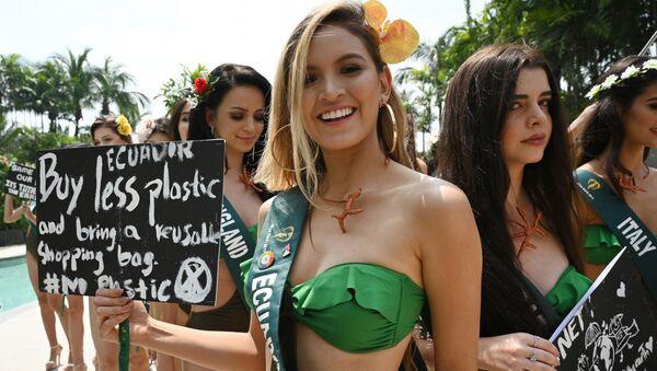 Thí sinh Ecuador tham gia cuộc thi Hoa hậu Trái đất 2019 với khẩu hiệu bảo vệ hành tinh - Sputnik Việt Nam