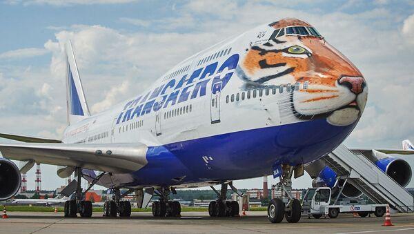 Máy bay Boeing 747-400 của hãng hàng không Transaero sơn màu lông hổ trong đề án Chuyến bay lông vằn - Sputnik Việt Nam