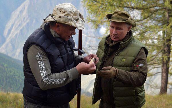 Tổng thống Liên bang Nga Vladimir Putin cùng với Bộ trưởng Quốc phòng Sergey Shoigu tại rừng taiga ở Siberia - Sputnik Việt Nam