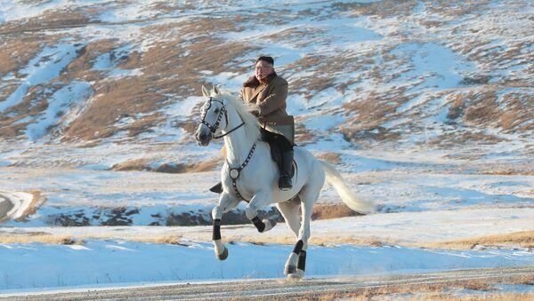 Nhà lãnh đạo Triều Tiên Kim Jong-un cưỡi ngựa khi tuyết rơi trên núi Paektu - Sputnik Việt Nam