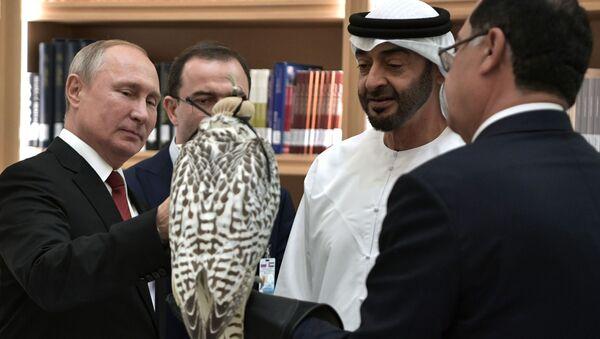 Vladimir Putin đã tặng Thái tử Abu Dhabi Muhammad bin Zayed al-Nahyan một con chim cắt màu trắng - Sputnik Việt Nam