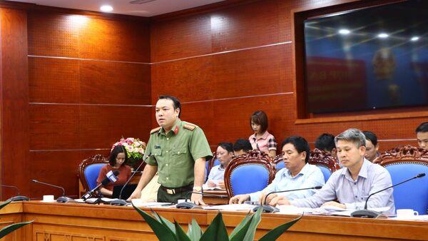 Phó Giám đốc Sở Công an tỉnh Hòa Bình, Thiếu tá Nguyễn Hữu Đức phát biểu - Sputnik Việt Nam